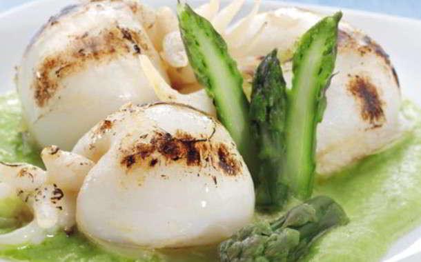 Seppioline con zucchine e asparagi